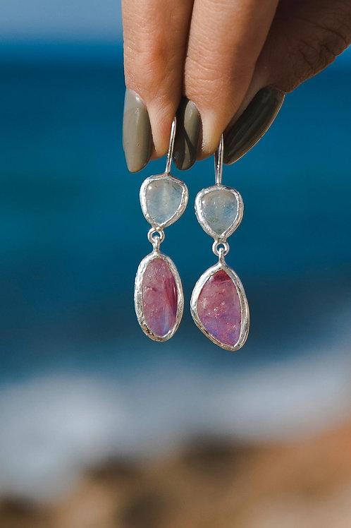 Tourmaline and aquamarine earrings // silver 925