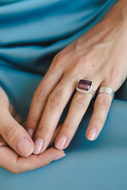 Square tourmaline ring // silver 925