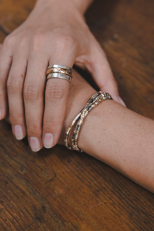 Bracelet with thin tubes / / silver and gold plating