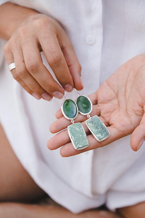 Earrings with jade and demantoid // silver 925