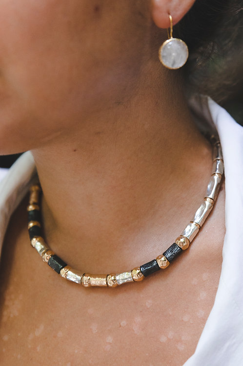 Necklace with thick tubes // silver 925 and gold-filled