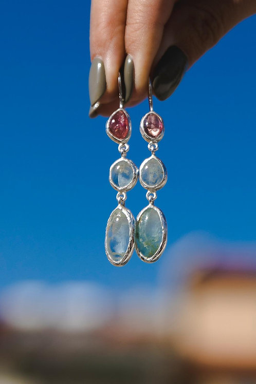 Tourmaline and Aquamarine Earrings // silver 925