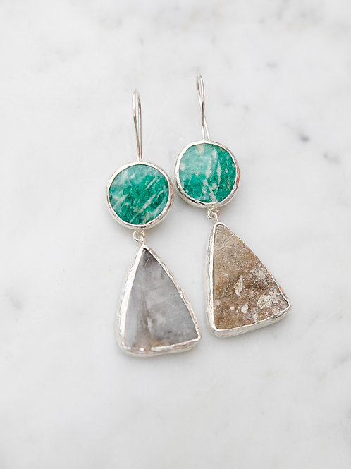 Earrings with amazonite and garnet druse and quartz