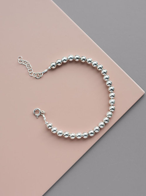 Bracelet with 5 mm beads // silver 925