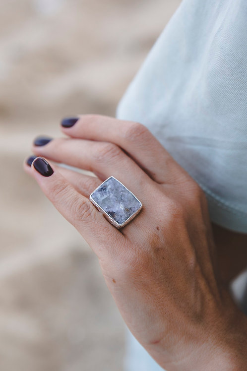 Ring with lepidolite // silver 925