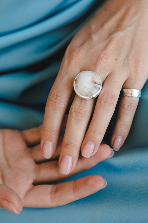 Round quartz ring with iron plating // silver 925