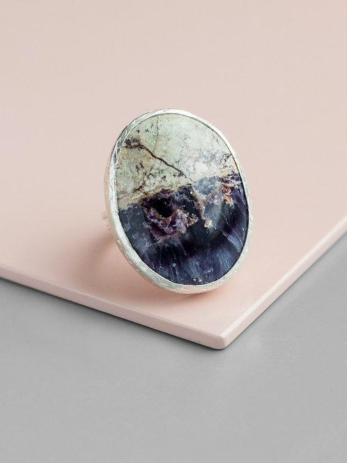 Oval Fluorite Ring // Silver 925