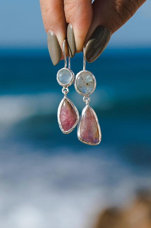 Aquamarine and tourmaline earrings // silver 925