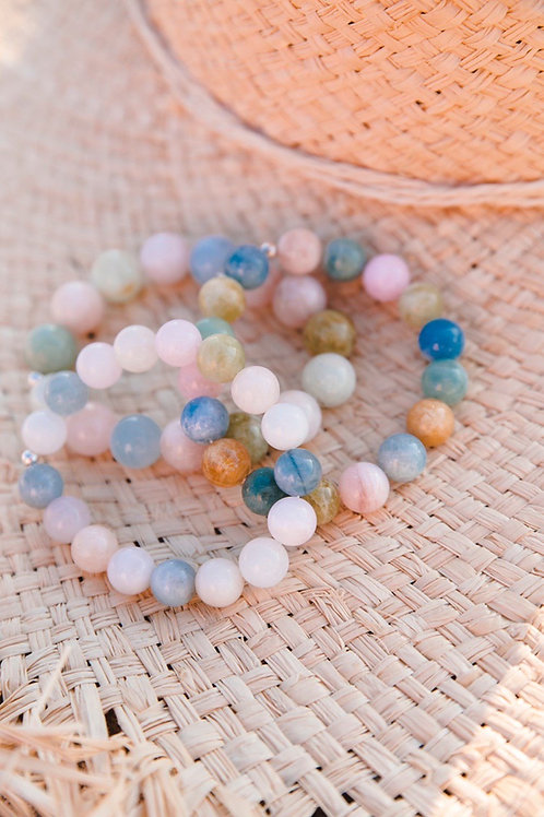 Beryl beads bracelet, 12 mm