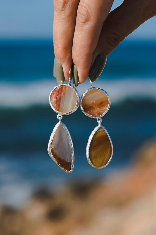 Еarrings with agate // silver 925