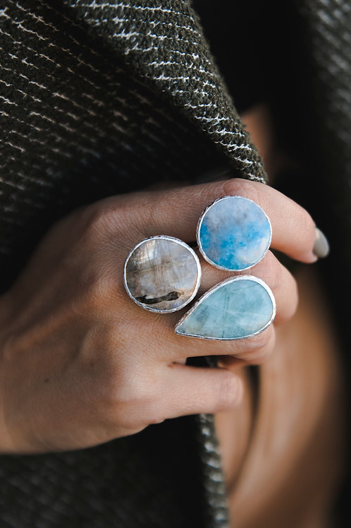 Ring with quartz, violan and moonstone // silver 925