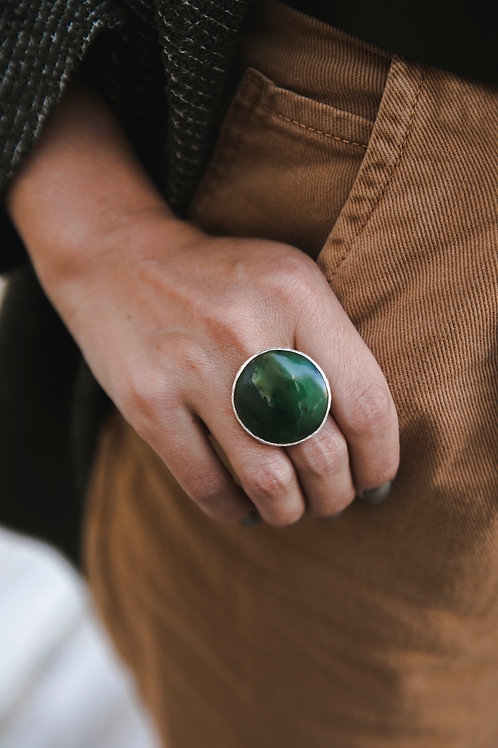 Ring with nephritis // silver 925