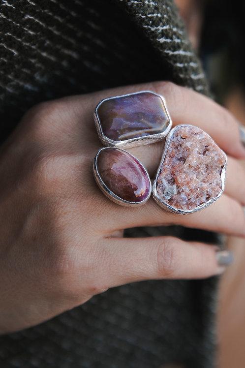 Ring with jasper, tourmaline and celestine // silver 925