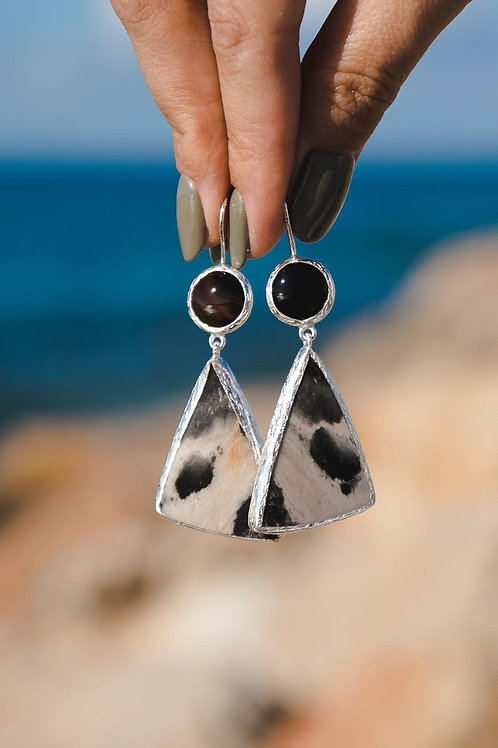 Earrings with agate and jasper // silver 925