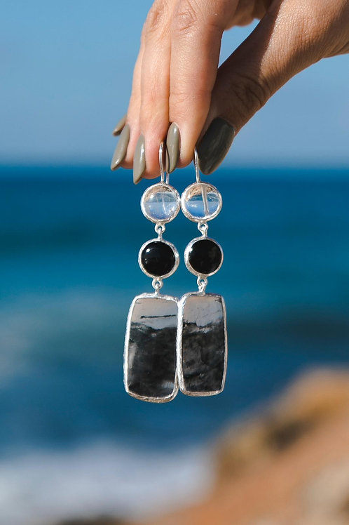 Earrings with crystal, agate and icy quartz // silver 925