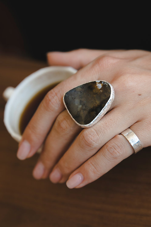 Moss Agate Ring // silver 925