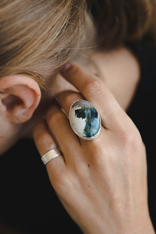 Oval Muscovite Ring // silver 925