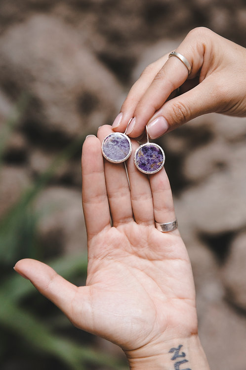 Earrings with round lepidolite // silver 925