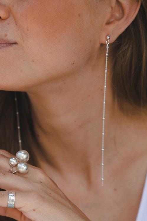 "Earrings-chains ""Opera""// sterling silver"