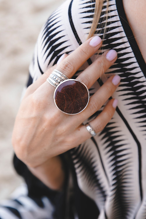Ring with round brown jasper // silver 925