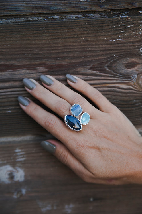 Ring with spectrolite, aquamarine and kyanite // silver 925