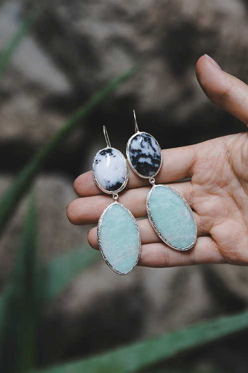Еarrings with moss agate and beryl // silver 925
