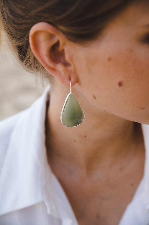 Green ophite drop earrings // silver 925