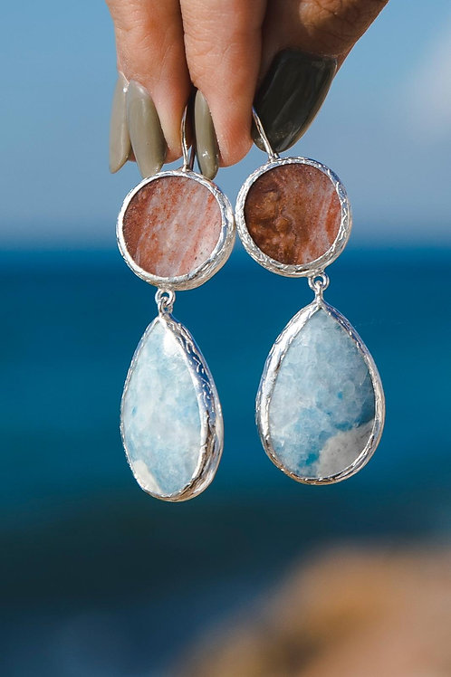 Earrings with overflow agate and violan // silver 925