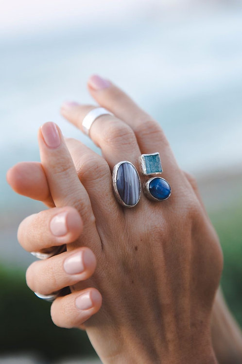 Ring with aquamarine, kyanite, agate // silver 925