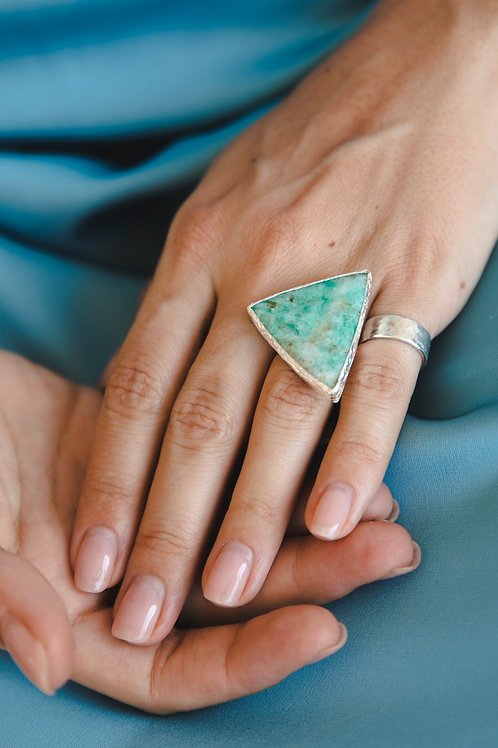 Ring with triangular amazonite // silver 925