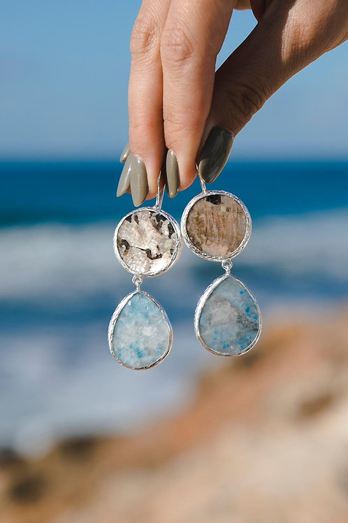 Earrings with moonstone and violan // silver 925