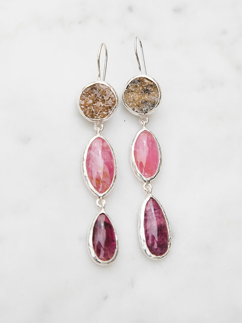 Earrings with tourmaline and garnet // silver 925