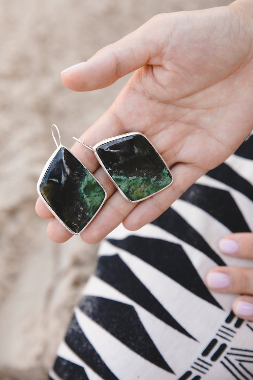 Earrings with green jadeite // silver 925