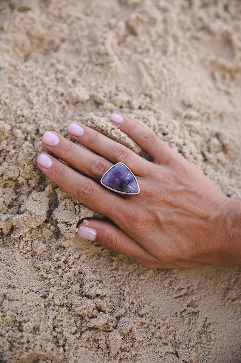 Ring with fluorite // silver 925