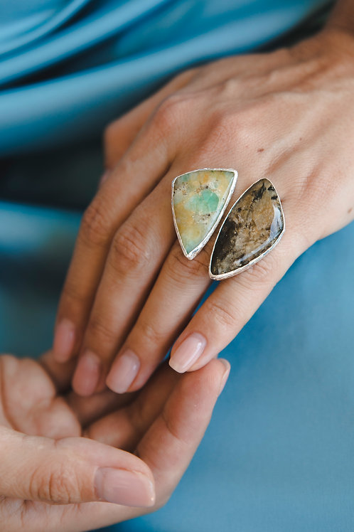 Ring with tourmaline and variscite // silver 925