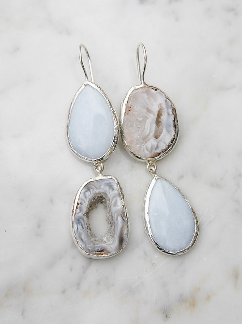 Earrings with a drop of light tengesite and agate geode // silver 925
