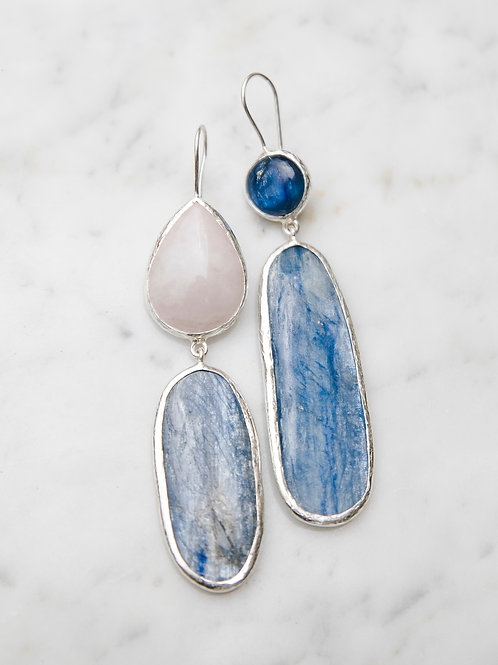Earrings with kyanite and quartz // silver 925