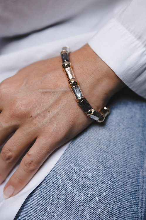 Bracelet with thick tubes / / silver and gold plating