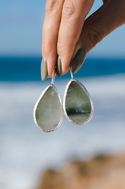 Earrings with quartz with actinolite // silver 925