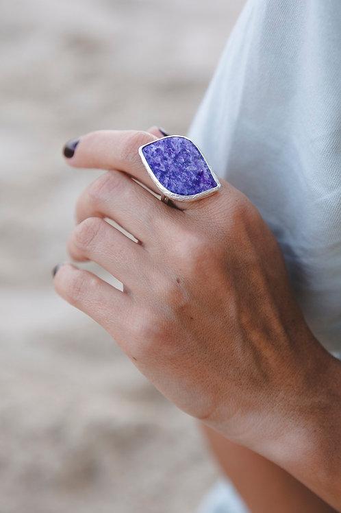 Charoite ring // silver 925