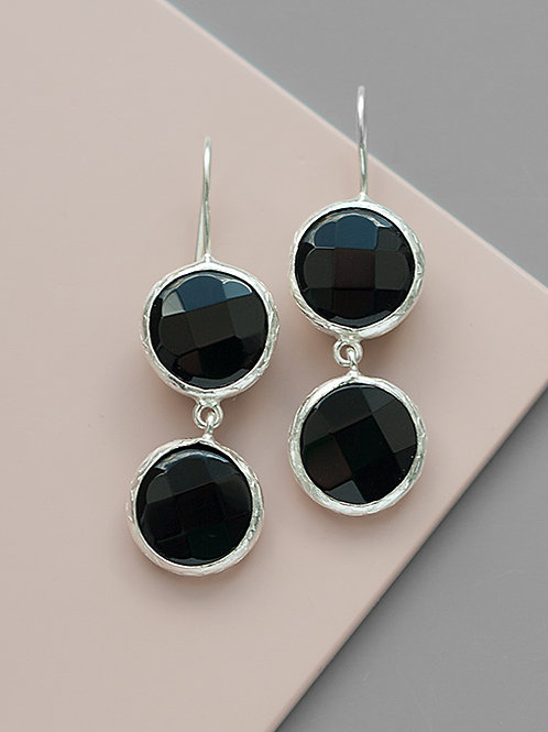 Earrings with two black faceted onyx stones // silver