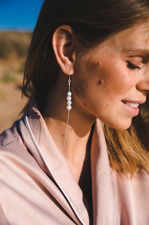 Beryl chain earrings // sterling silver