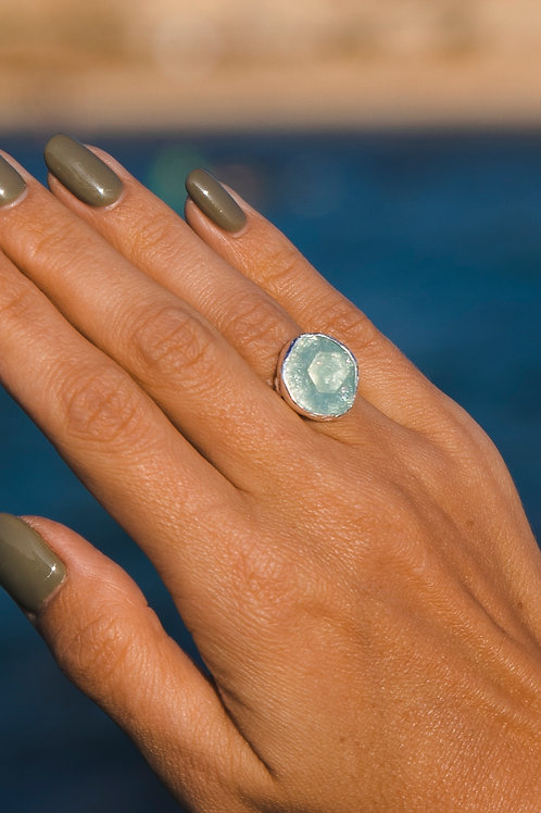 Ring with aquamarine // silver 925