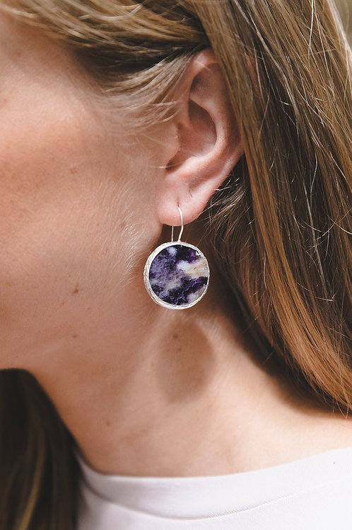 Еarrings with lepidoite // silver 925