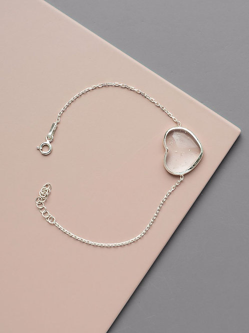 Heart bracelet with rock crystal // silver