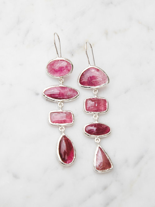 Earrings with tourmaline // silver 925