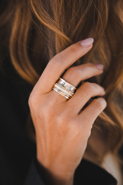 Spinner ring maximalism // silver with gold-filled