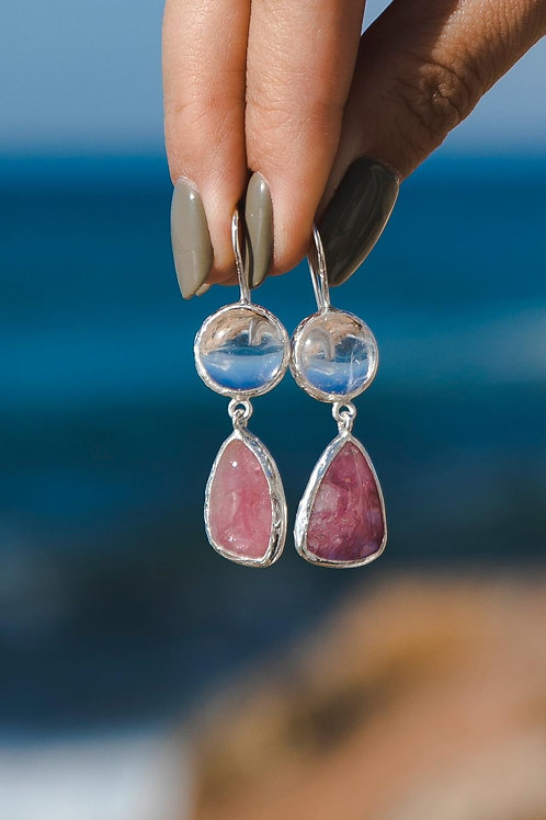 Earrings with rock crystal andtourmaline / silver 925