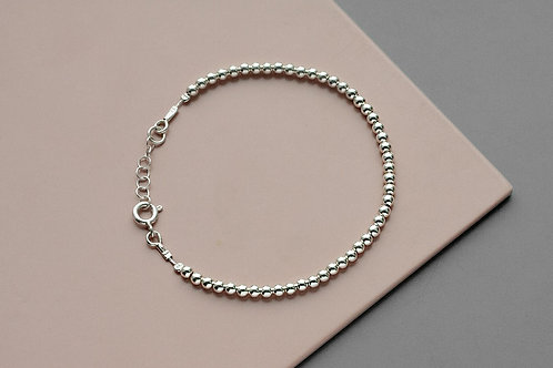 Bracelet with 3 mm beads // silver 925