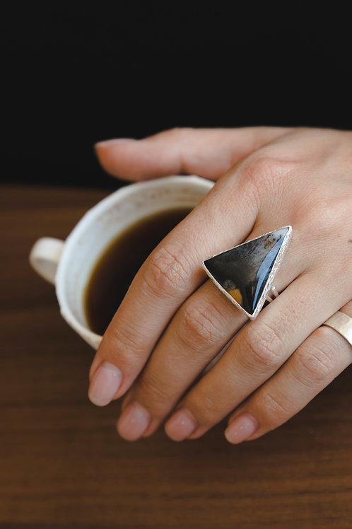 Ring with triangular moss agate // silver 925